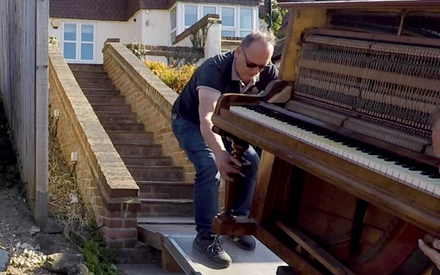 Chris Moving Piano Up Steep Steps